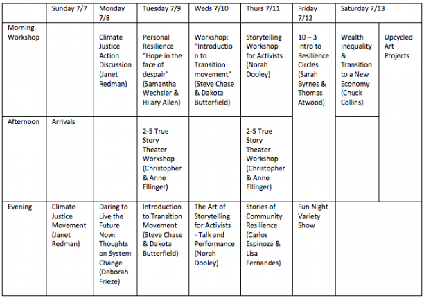 Camp Commons Schedule
